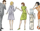 Businessmen and business women gossiping near the office water cooler.